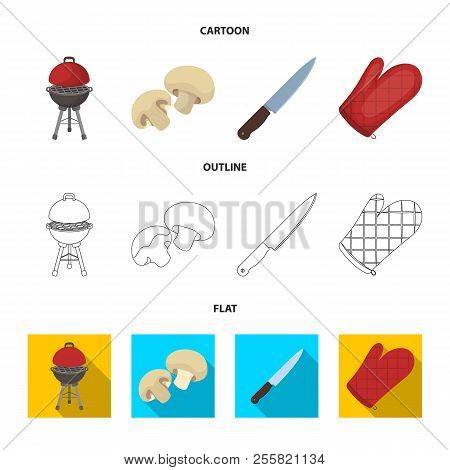 Barbeque Grill, Champignons, Knife, Barbecue Mitten.bbq Set Collection Icons In Cartoon, Outline, Fl