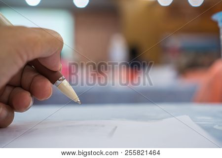 Business Man Manager Checking And Signing Applicant Filling Documents Reports Papers Company Applica