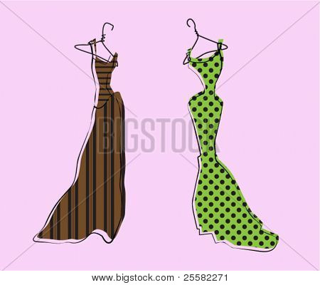 Glamor Girl's Wardrobe, Brown and Green Evening Gowns