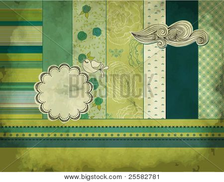 Vintage Layered Scrapbook Background w/paper label, bird and cloud
