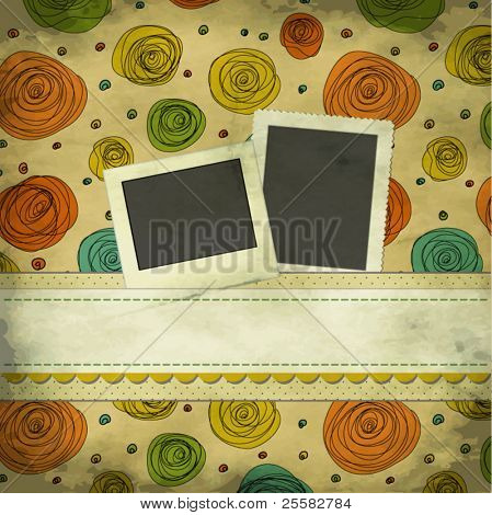Vintage Scrapbook Background with Photo and Text Plates