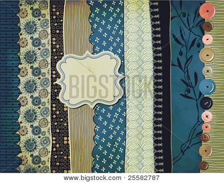 Gypsy Background with patterned scraps, clothing buttons and label (hand drawn)