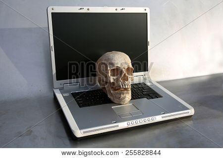 Human Skull on Laptop Computer. Haunted Computer. Haunted Laptop. Halloween Human Skull. Evil Skeleton.