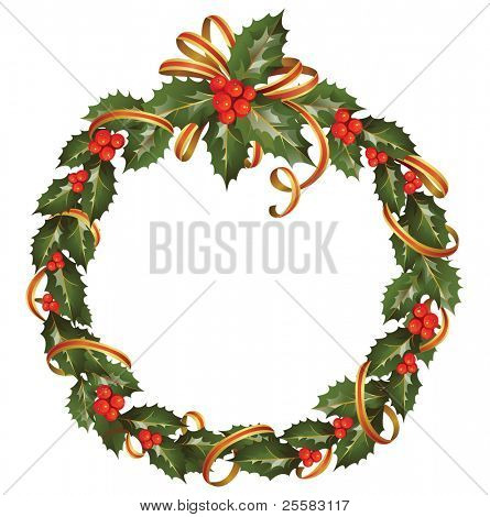circle of the christmas holly branch