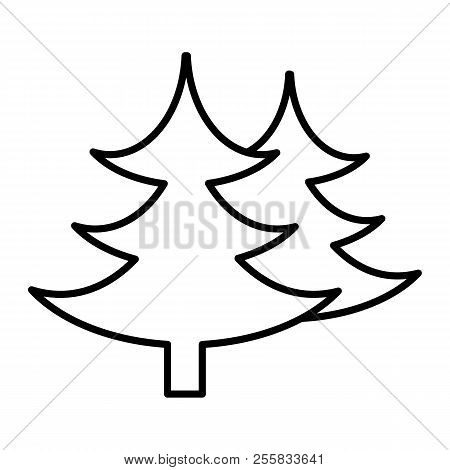 Fir Tree Thin Line Icon. Spruce Vector Illustration Isolated On White. Conifer Outline Style Design,