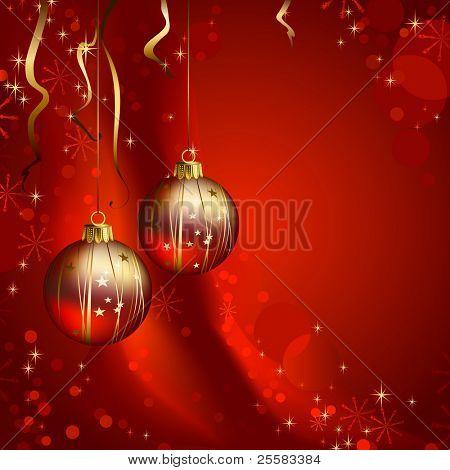 Brillante telón de fondo de Navidad con dos bolas de noche