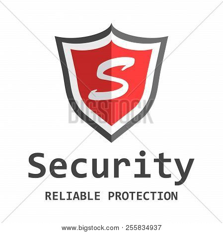 Red Shield Logo. Vector Illustration In Flat Style With Word Sec . Business Abstract Pictogram.