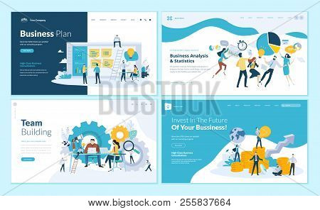 Set Of Web Page Design Templates For Business Plan, Analysis And Statistics, Team Building, Consulti