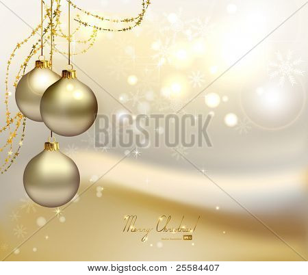 elegant  Christmas background with three evening balls and gold garlands