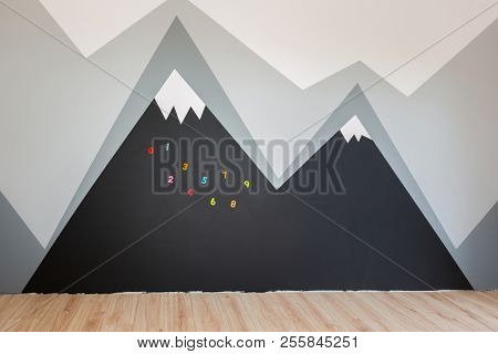 Kids bedroom with mountains chalkboard paint and new laminated floor