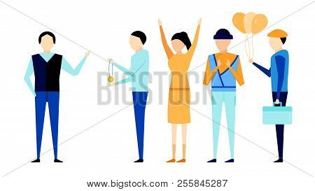 Happy Boss's Day Background With Boss Man And Employee  Isolated On Blue Background. Character Of Ve
