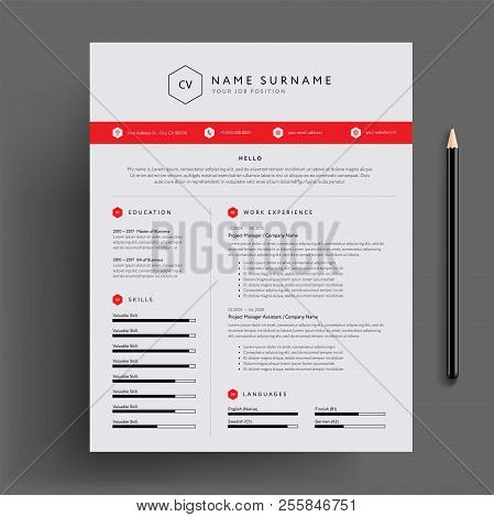 Stylish Cv / Resume Design Template Red. Super Clean And Clear Professional Modern Design. Red Desig