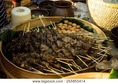Sate Usus, Sate Telur Puyuh, Sate Kerang. Skewered Food Dish Of Chicken Intestine, Quail Eggs, And C