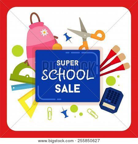 School Sale Label, Badge. School Sale Background. Sale Tag. Vector Illustration. Typography Emblem.