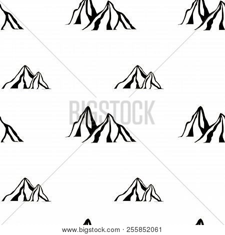 Monochrome Mountain Seamless Pattern Stock Vector Illustration For Web, For Print Design Element Sto
