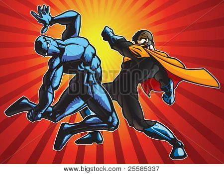 Super hero and a ninja doing battle.