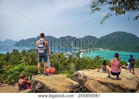 Phi Phi, Thailand - April 4, 2018 : Tourists Enjoy Panoramic View Over The Tonsai Village And The Mo