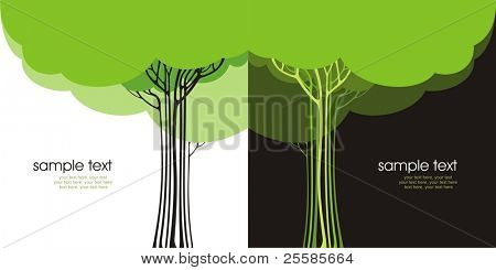 Two variants of cards design with stylized trees and text