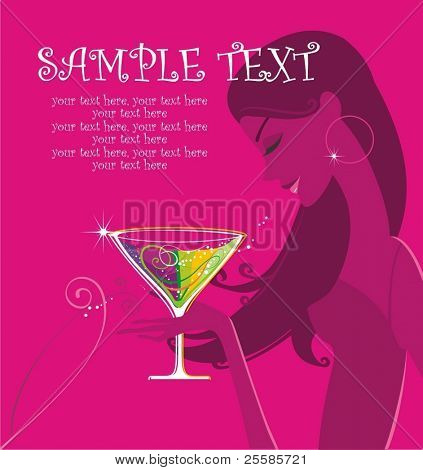 Cocktail party illustration with girl and place for text