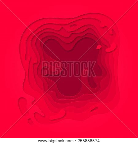 Papercut geometric purple red pattern. Vector pink color gradient background with topography multi layers texture poster