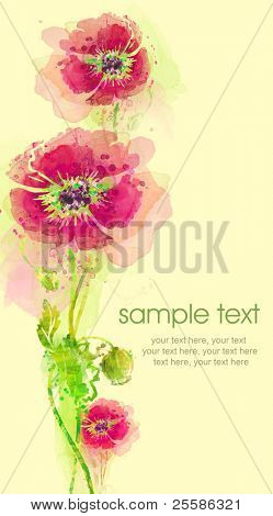 Painted watercolor card with poppies and text