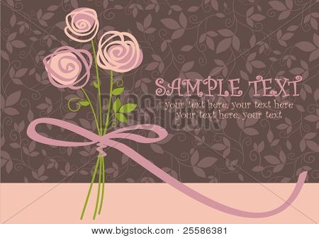 card with vector stylized roses and text
