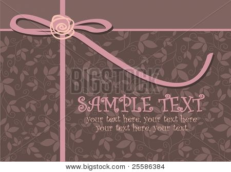 card with vector stylized rose, ribbon and text