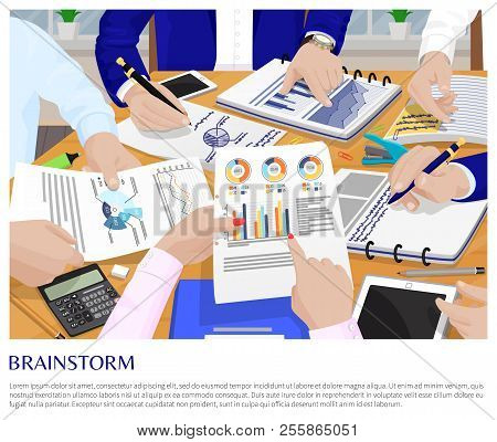 Brainstorm Process Business Conversation Card Vector Illustration Businessmen Working With Analytics