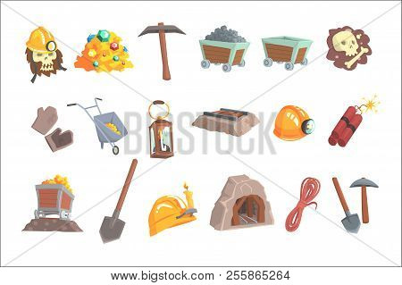 Gold Mining, Set For Label Design. Mining Equipment, Wild West. Colorful Cartoon Detailed Vector Ill