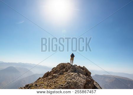 Hiker on the mountain top.