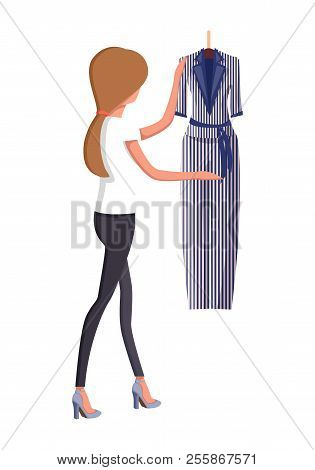 Woman Choosing New Summer Vogue Suit With Trousers And Jacket, Modern Striped Dress In Girl Hands, B