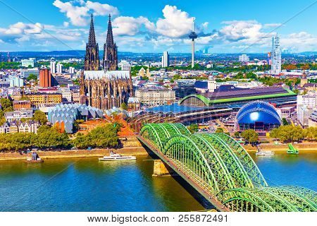 Scenic Summer Aerial Panorama Of The Old Town Pier Architecture With Cathedral Church And Hohenzolle