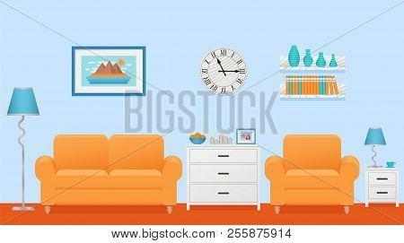 Living Room Interior. Vector. Lounge With Furniture. Home Background In Flat Design. Cartoon House E