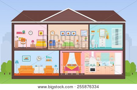 House Interior. Vector. House In Cut. Cross Section With Rooms Bedroom, Living Room, Kitchen, Dining
