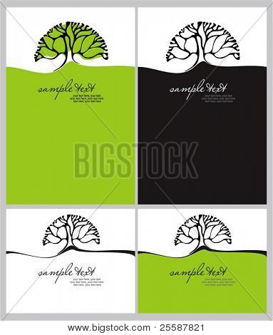 cards set with stylized tree and text