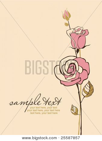 card with vector stylized rose and text