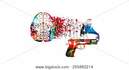 Colorful Human Brain With Music Notes And Gramophone Isolated Vector Illustration Design. Artistic M