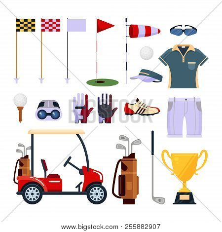 Set Of Golf Equipment Icon Logo In Flat Style Isolated On White Background. Clothes And Accessories