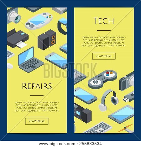 Gadgets Banners. Vector Isometric Gadgets Icons Web Illustration