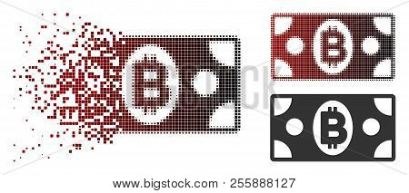 Bitcoin Cash Banknote Icon In Dispersed, Pixelated Halftone And Undamaged Solid Versions. Particles