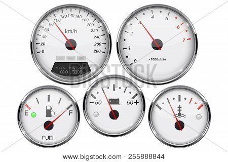 Car Dashboard 3d Gauges. Speedometer, Tachometer, Fuel Gauge, Temperature And Accumulator Charge Dev