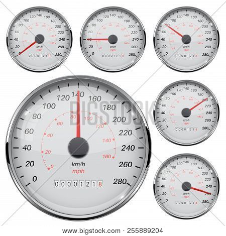 Speedometer. Kilometers And Miles. Speed Gauge With Metal Frame. Vector 3d Illustration Isolated On