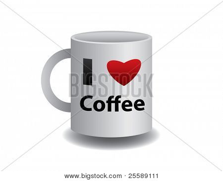 realistic mug of coffee with sign
