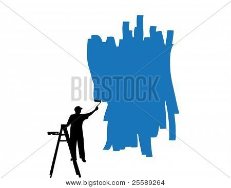 Raster painter painting wall