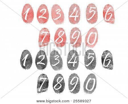Raster set of fingerprints with numbers