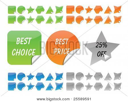 Vector set of glossy stickers