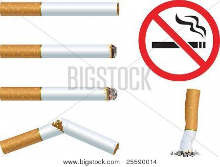 """Set of cigarettes and the sign """"No smoking"""" poster"""