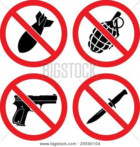"Forbidding  Vector Signs ""No weapons"" with bomb, grenade, pistol and knife poster"