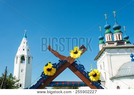Three Bright Sunflowers On Top Of A Trading Place At The Regional Festival-fair Luk-luchok August 25