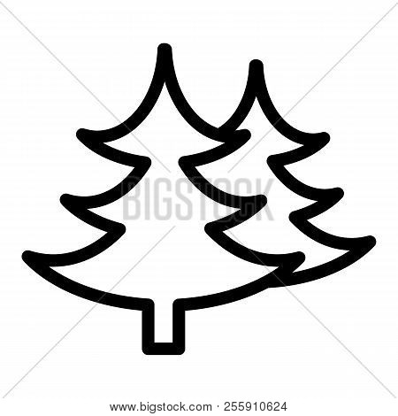 Fir Tree Line Icon. Spruce Vector Illustration Isolated On White. Conifer Outline Style Design, Desi